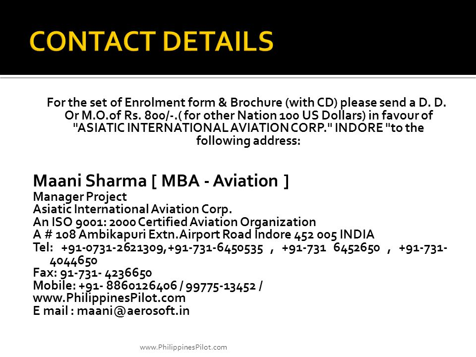 CONTACT DETAILS Maani Sharma [ MBA - Aviation ]